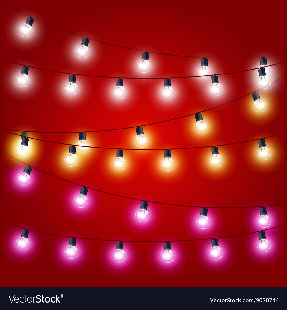 Sagging strung of Christmas Lights - carnival vector image