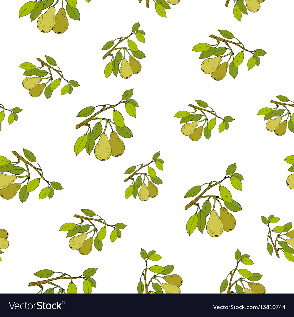 Seamless pattern with pears
