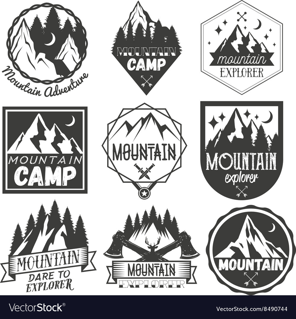 Set mountain camp labels in vintage