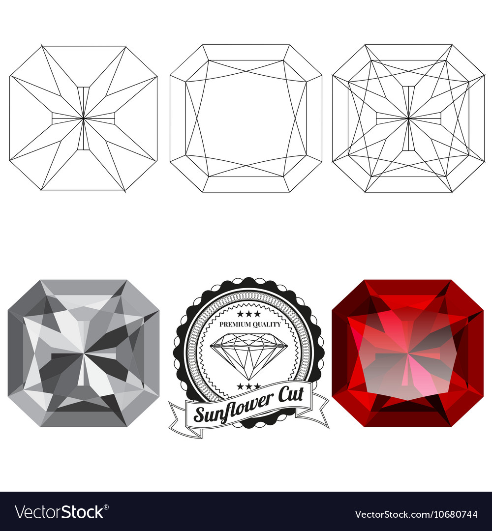 Set of sunflower cut jewel views vector image