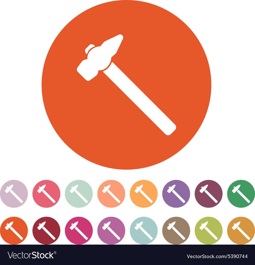 The Hammer Icon Hammer Symbol Flat Royalty Free Vector Image
