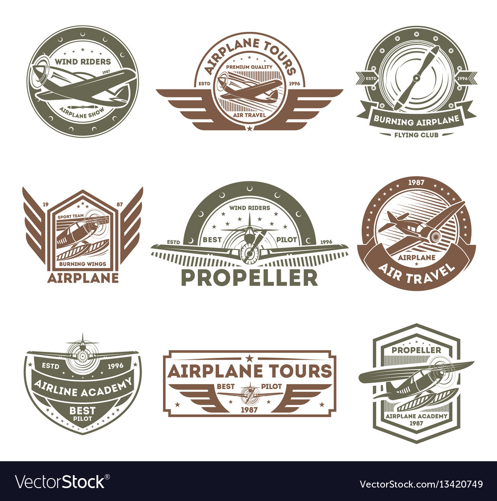 Airplane vintage isolated label set