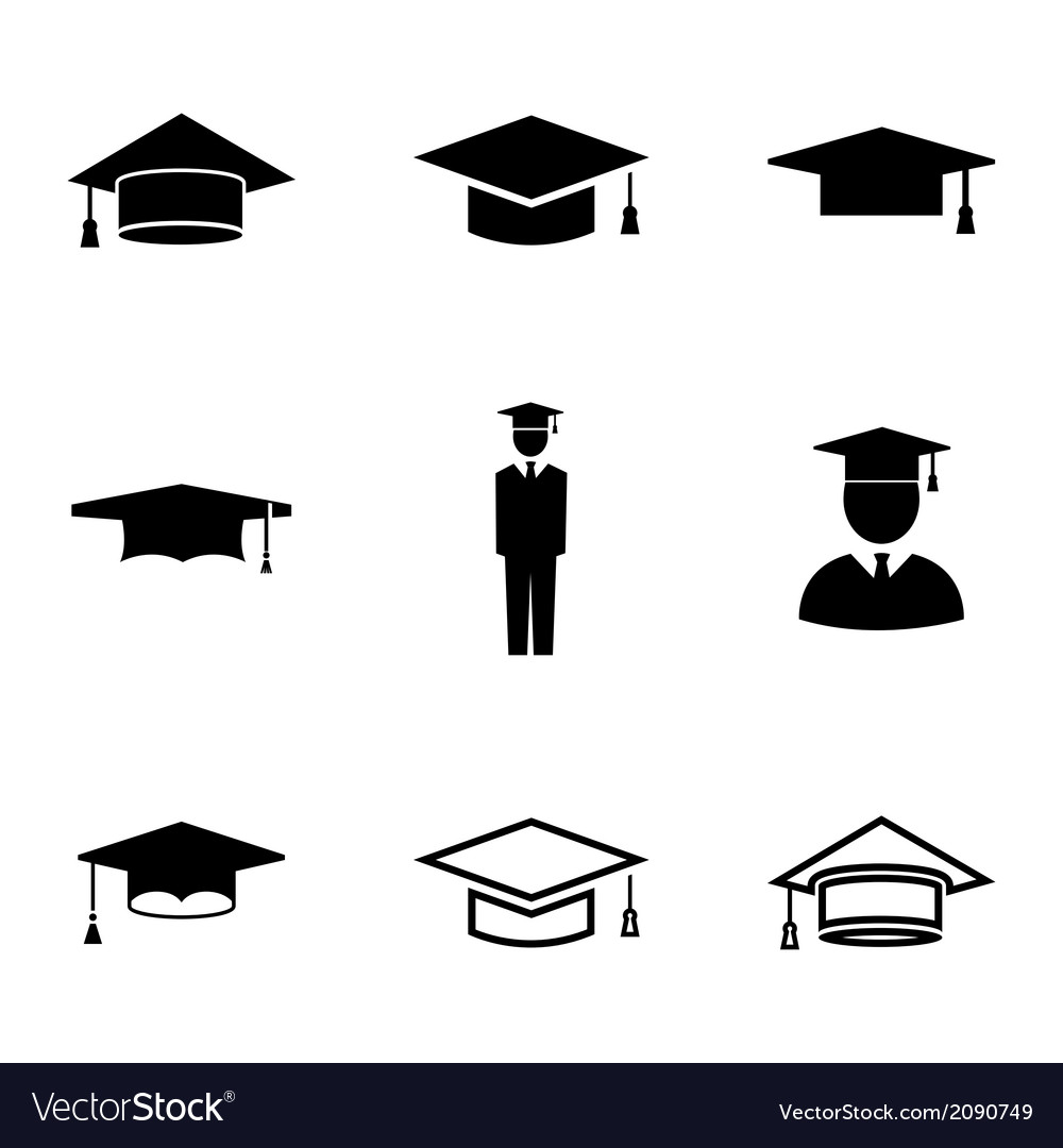 Black academic cap icons set