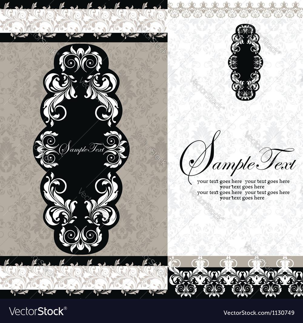 Black and white damask wedding invitations