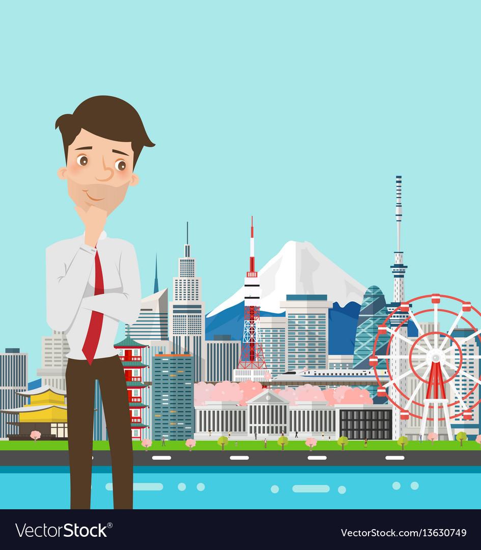 Businessman thinking with japan buildings landmark vector image