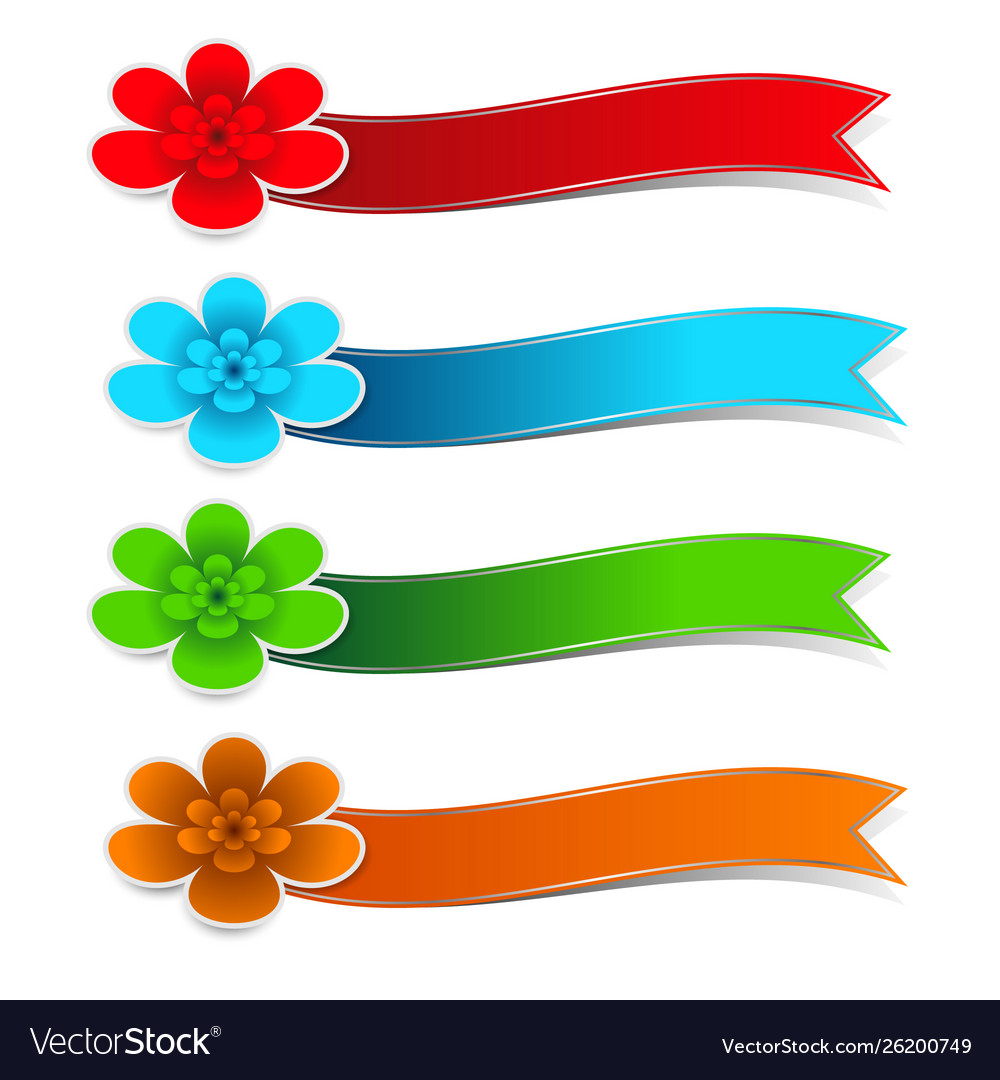 Colorful flower paper with ribbons on white