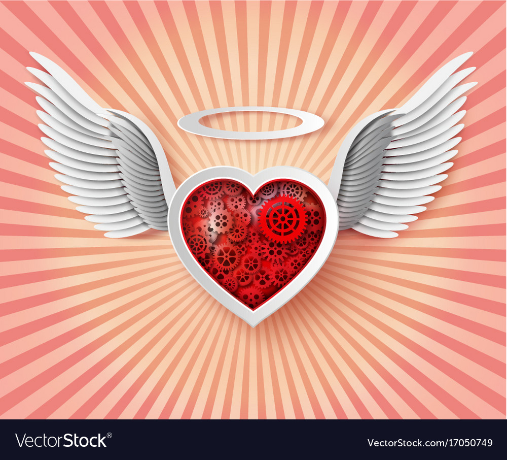 flying hearts with wings royalty free vector image rh vectorstock com pictures of broken hearts with wings pictures of hearts with wings