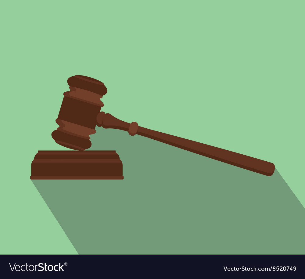 Gavel isolated flat with long shadow green