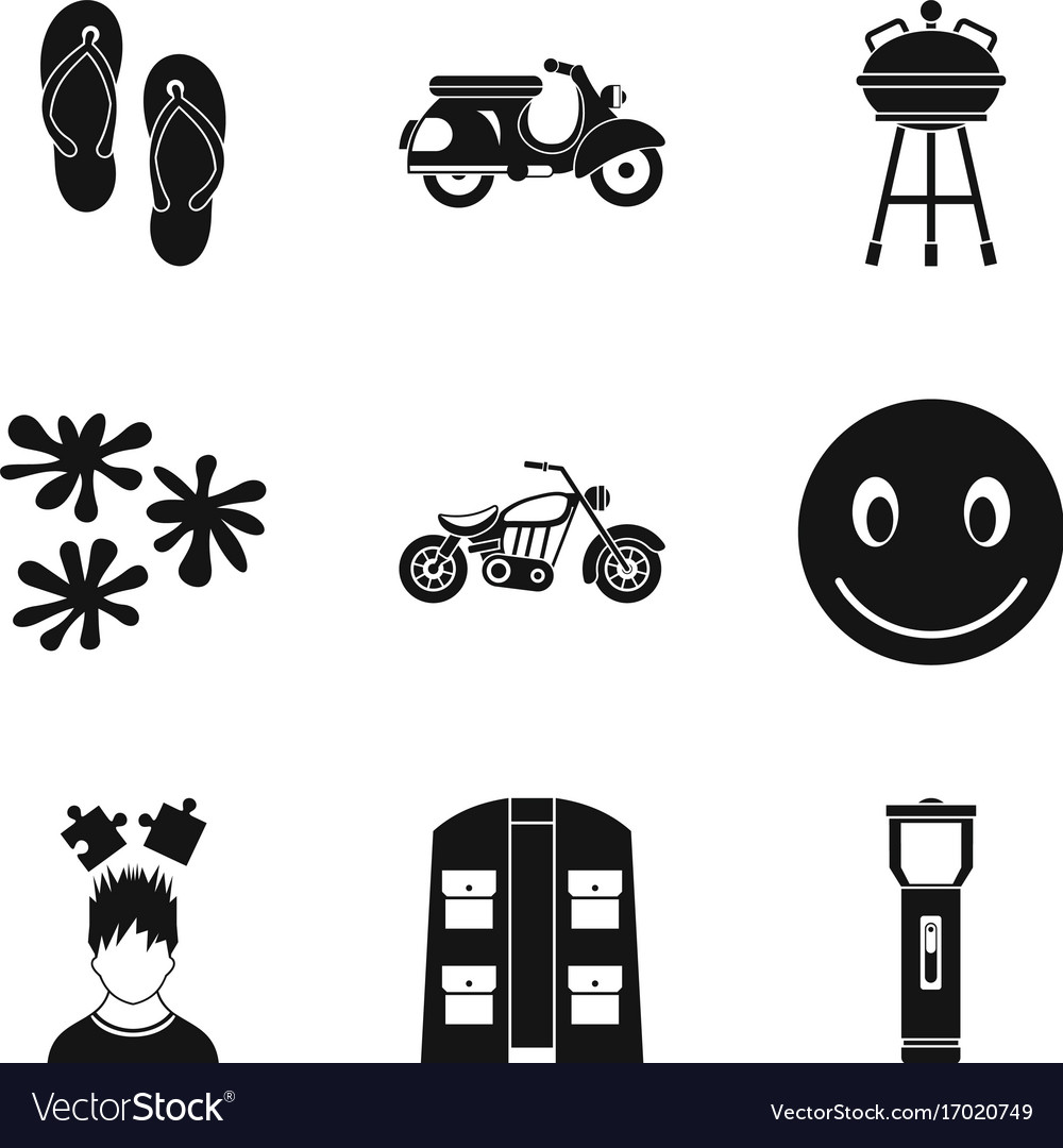 Motorcycle icons set simple style Royalty Free Vector Image