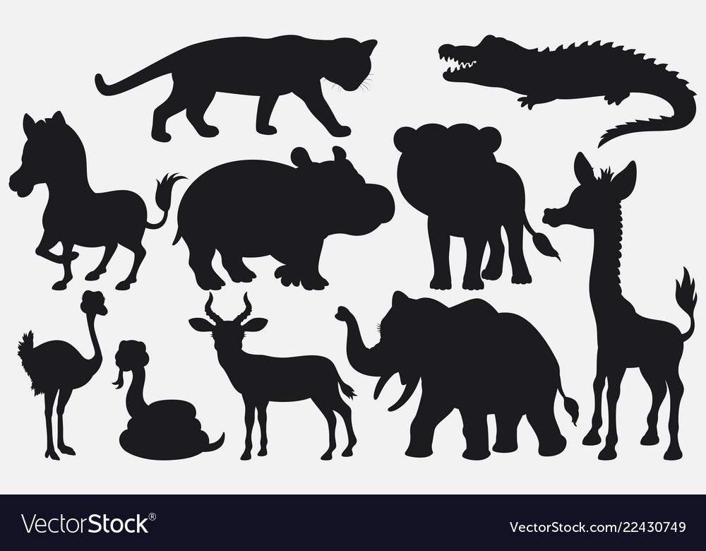 Set Of Black Silhouettes Wild Animals Cartoon On W