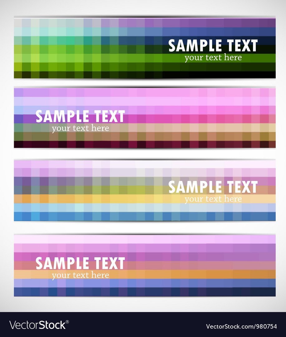 Abstract pixelated banners