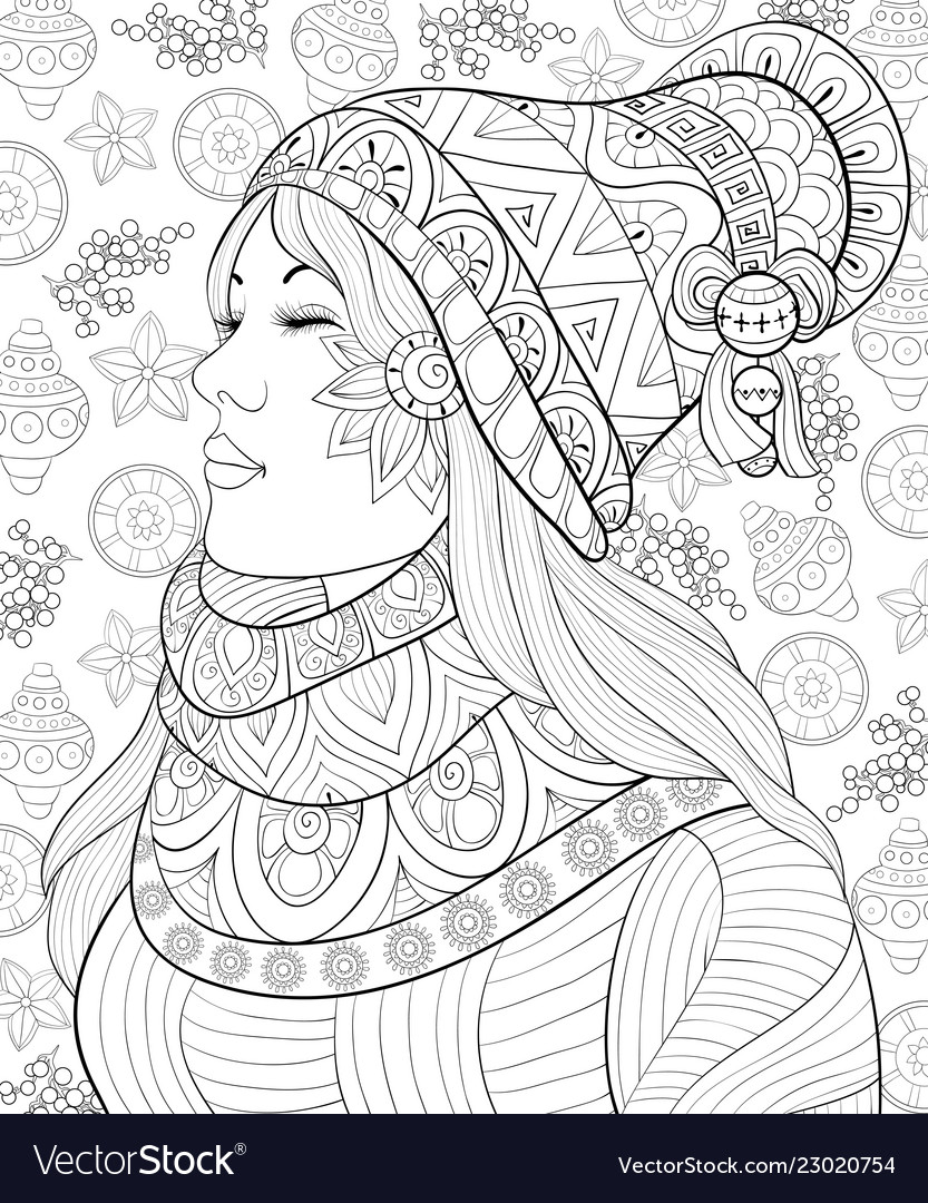 Adult coloring bookpage a cute girl with