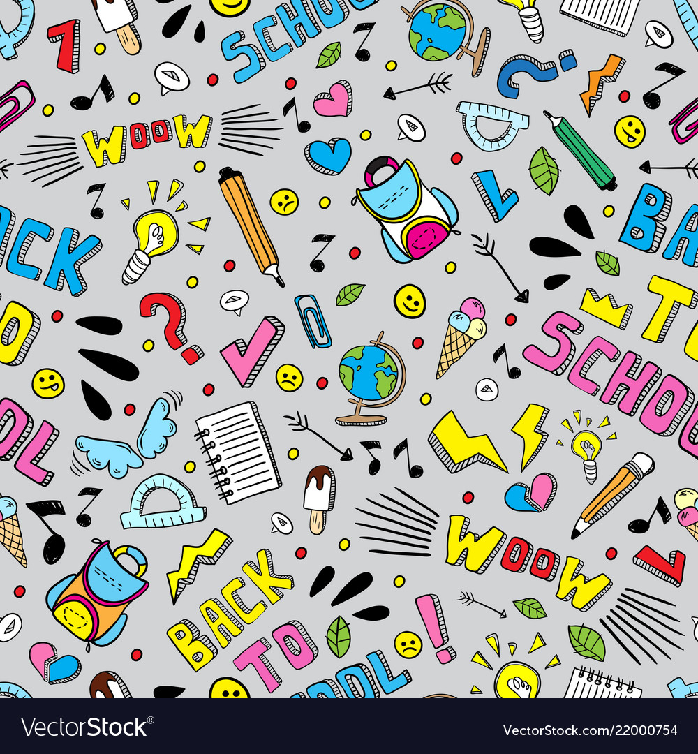 Back to school funny seamless pattern