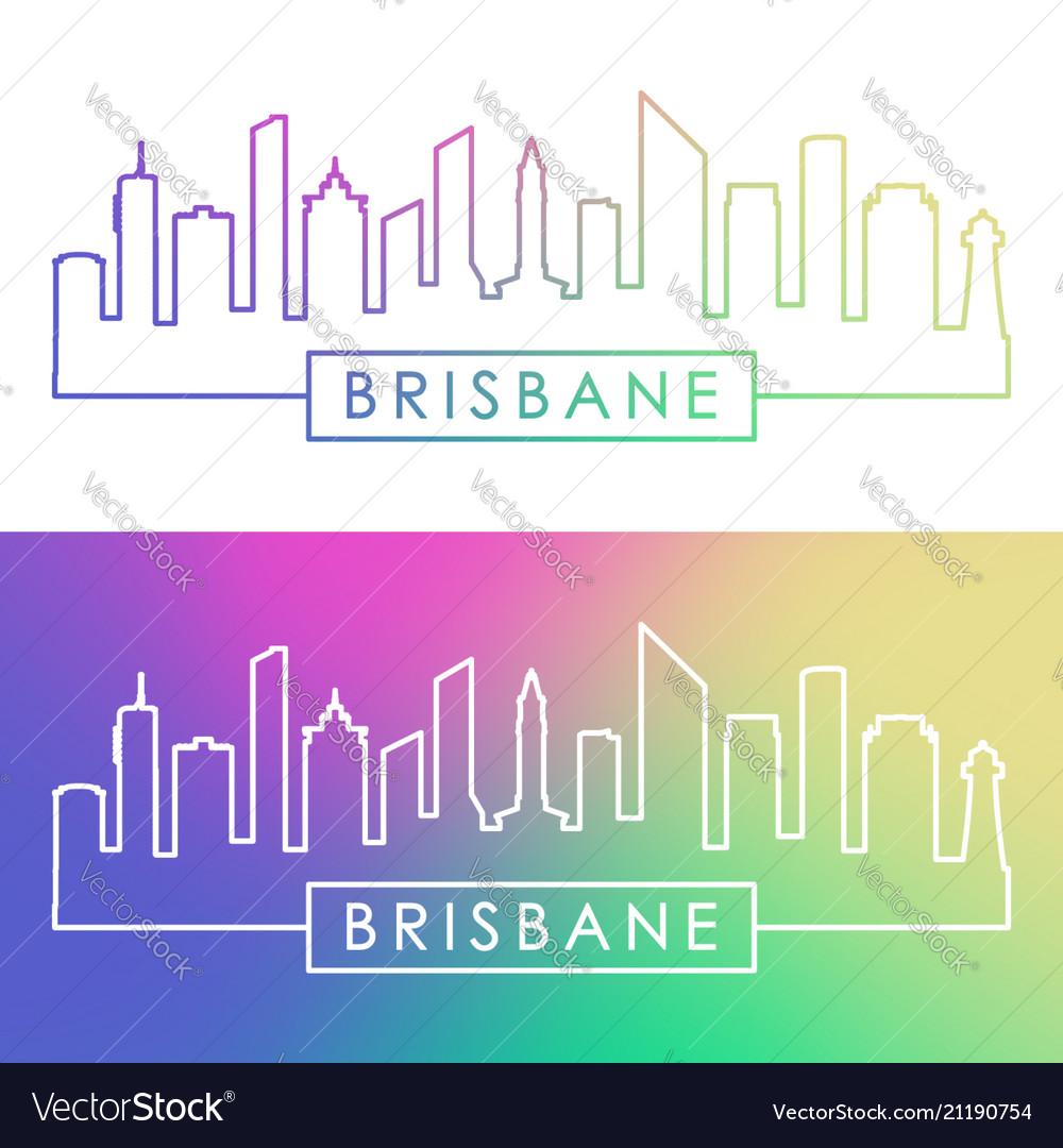 Brisbane skyline colorful linear style editable