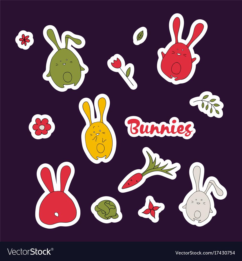 Cute cartoon rabbits set simple hand drawn vector image