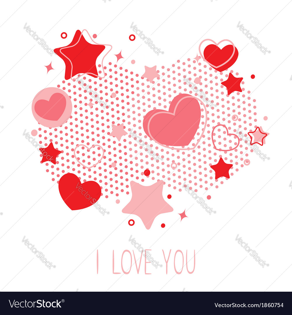 Cute Valentine card with hearts stars and halftone