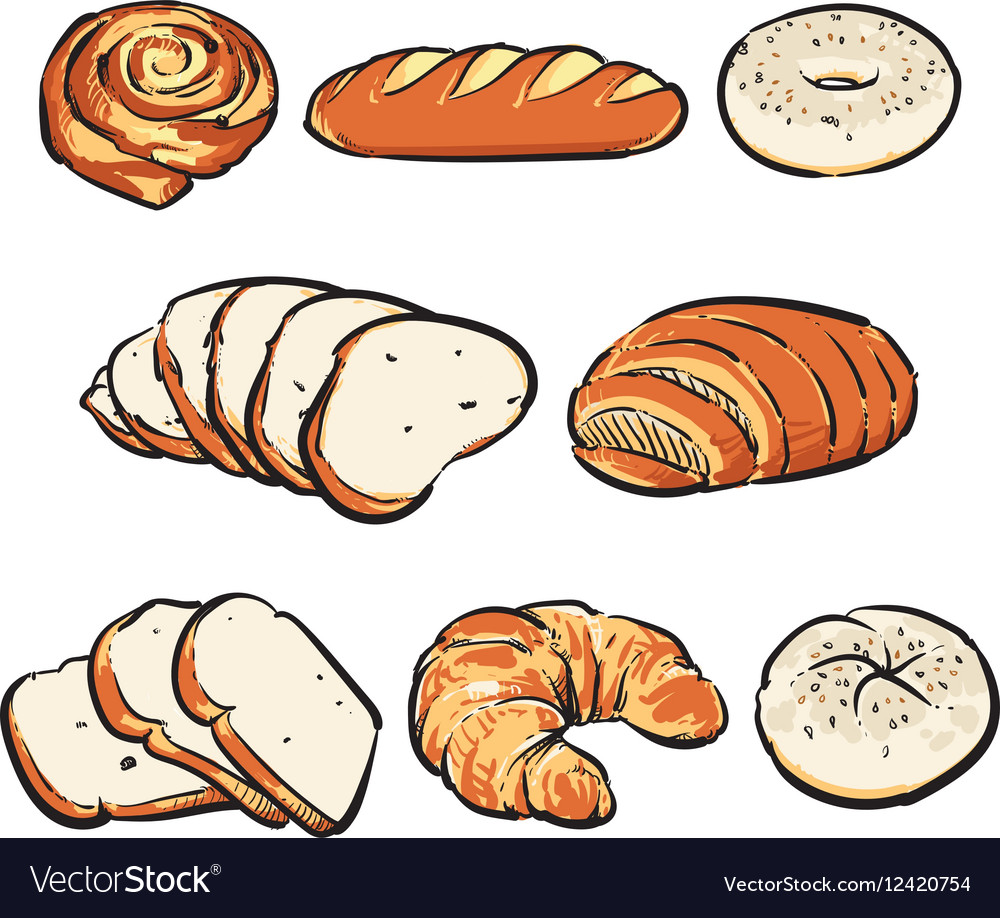 Hand Drawn Bakery breakfast drawing vector image