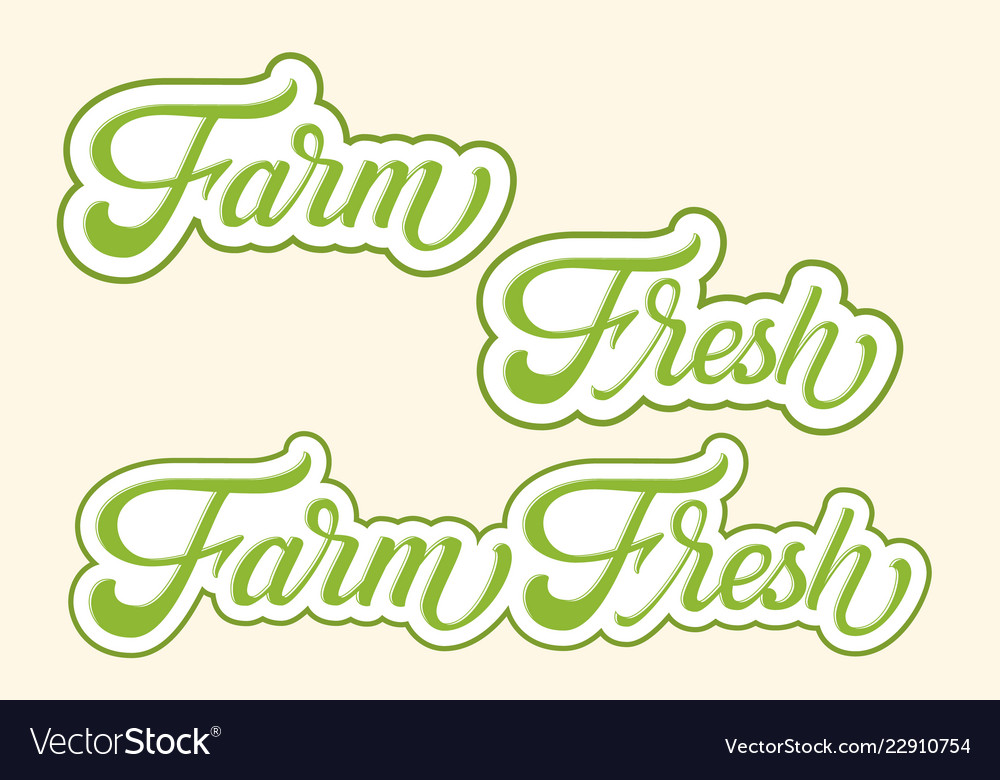 Hand drawn lettering farm fresh with outline and