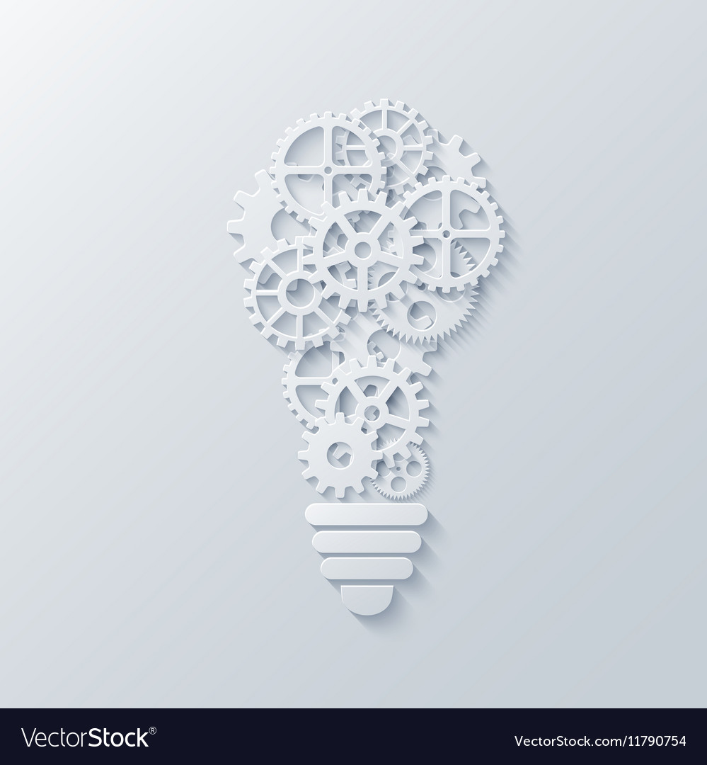 Modern concept light bulb and mechanism vector image