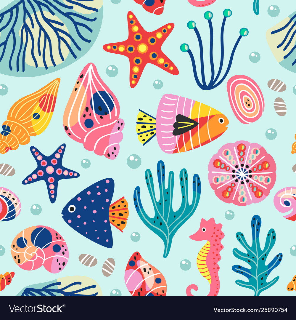 Seamless pattern with underwater sea life