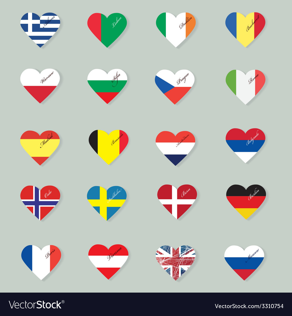 Set of original flags of the countries of Europe vector image