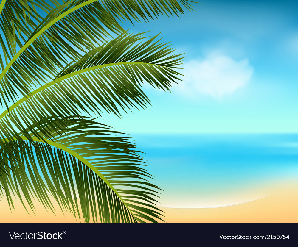 Summer sea and palm tree background landscape2