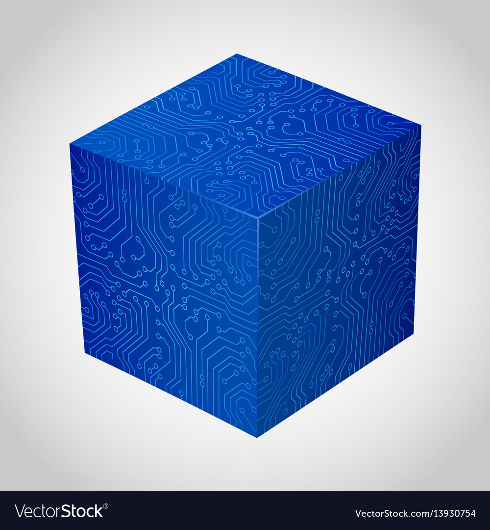 Three-dimensional box circuit board stile vector image