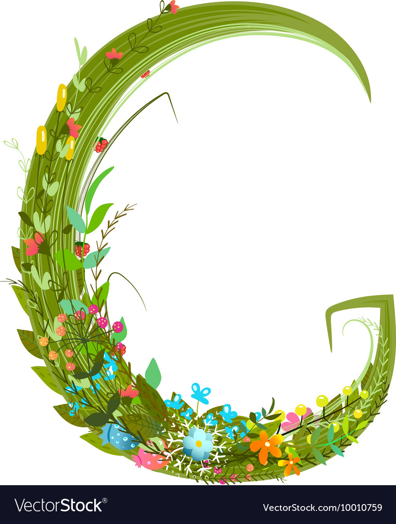 Alphabet letter G elegant flower blooming