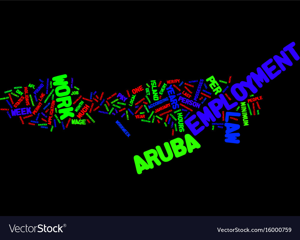 Aruba employment law text background word cloud