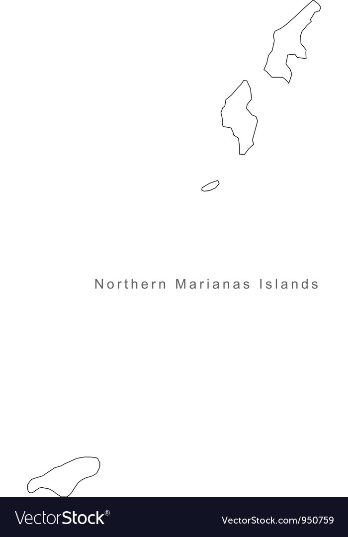 Black White Northern Marianas Islands Outline Map Vector Image