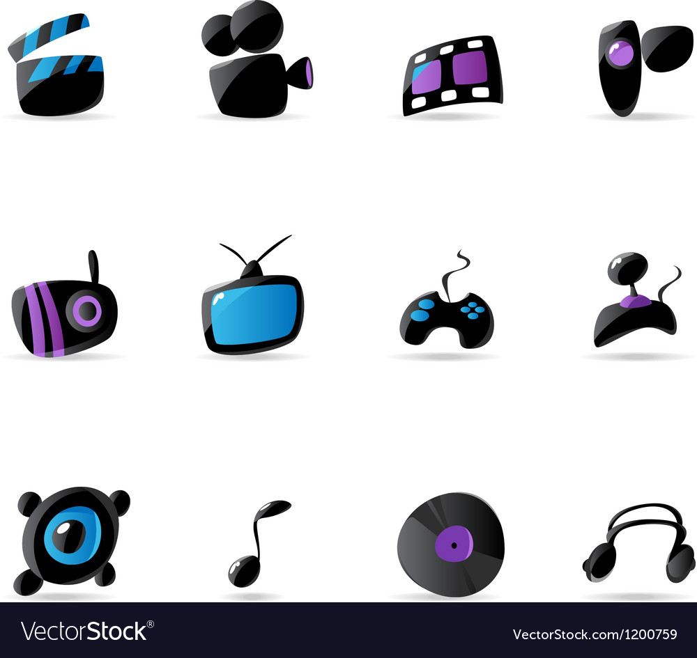 Bright media game and music icons