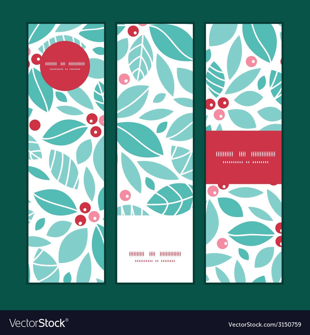 Christmas holly berries vertical banners set