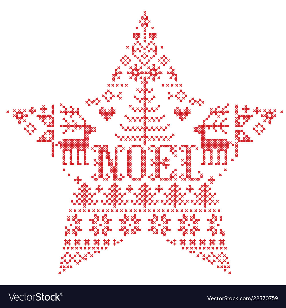 christmas pattern in star shape with noel word vector image