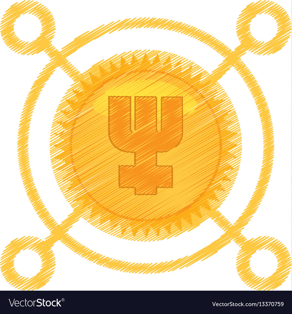 Drawing primecoin currency icon vector image