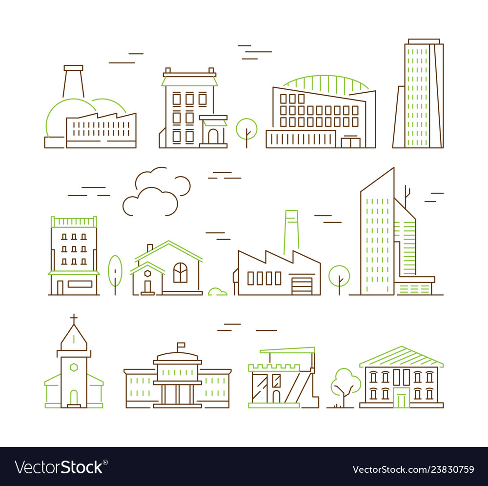 Line art buildings urban living houses and villa