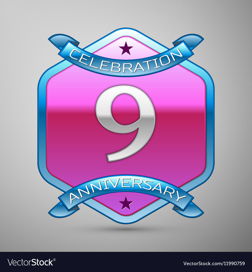 Nine years anniversary celebration silver logo