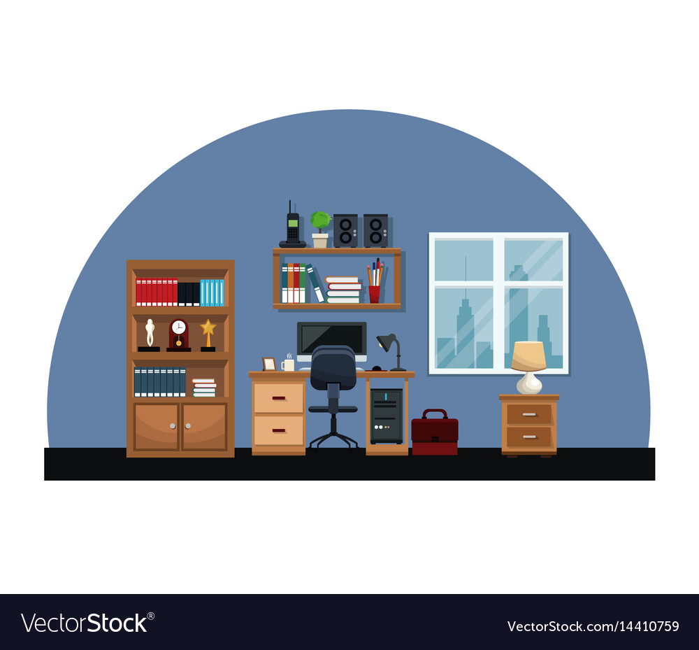 Office interior room desk chair window table vector image