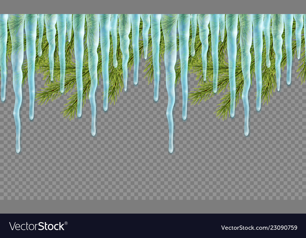 Seamless border with realistic firtree and icicles
