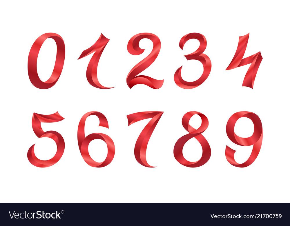 Set of festive red ribbon digits iridescent