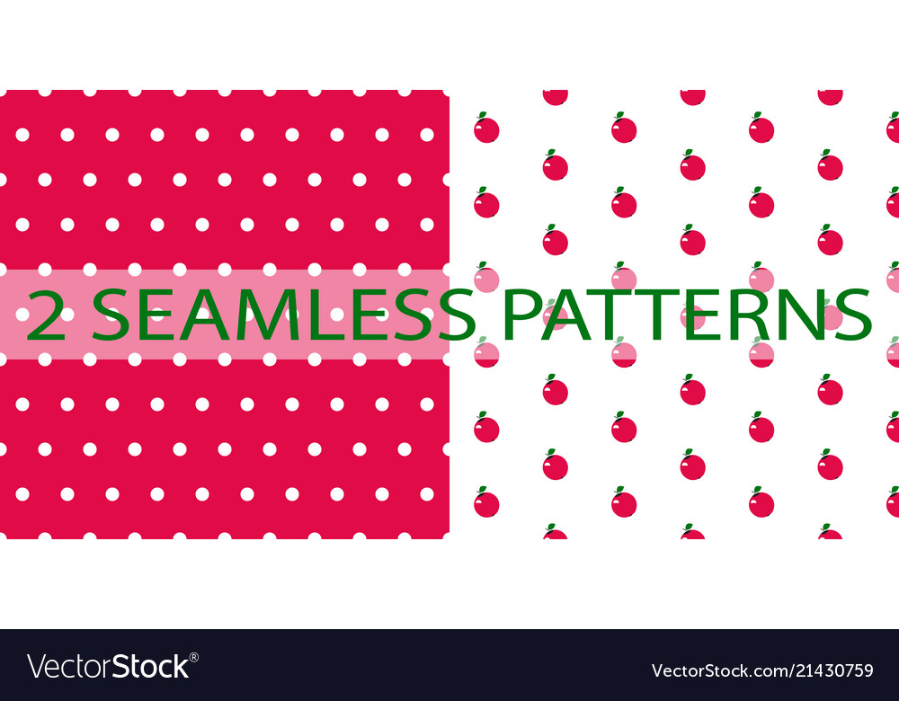 Set of two seamless patterns in red color