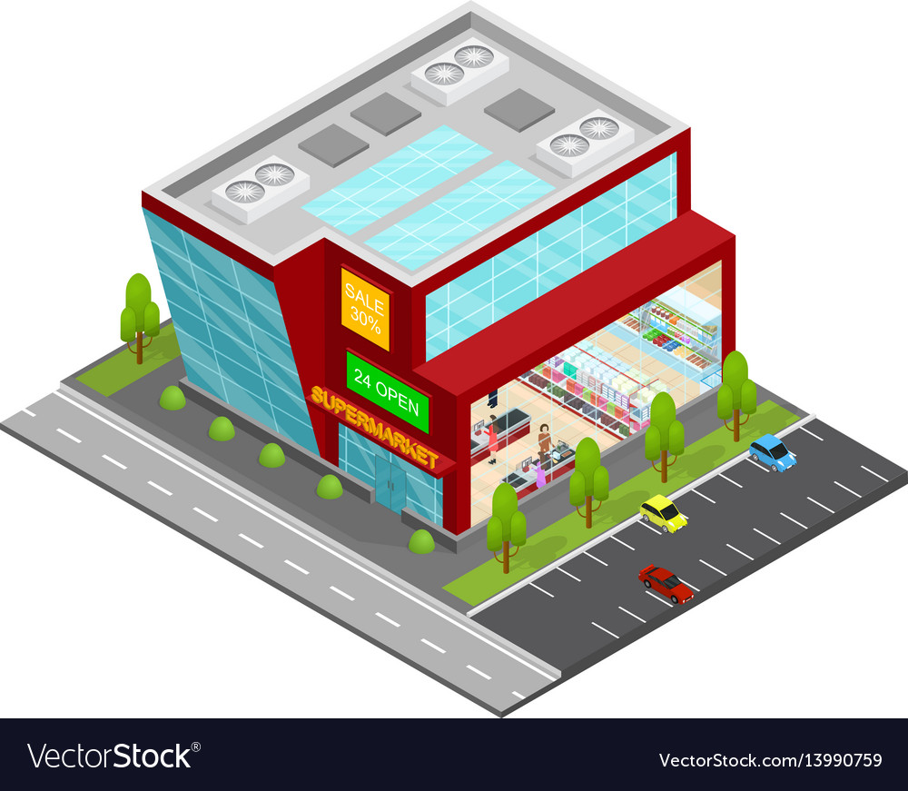 Supermarket building isometric view
