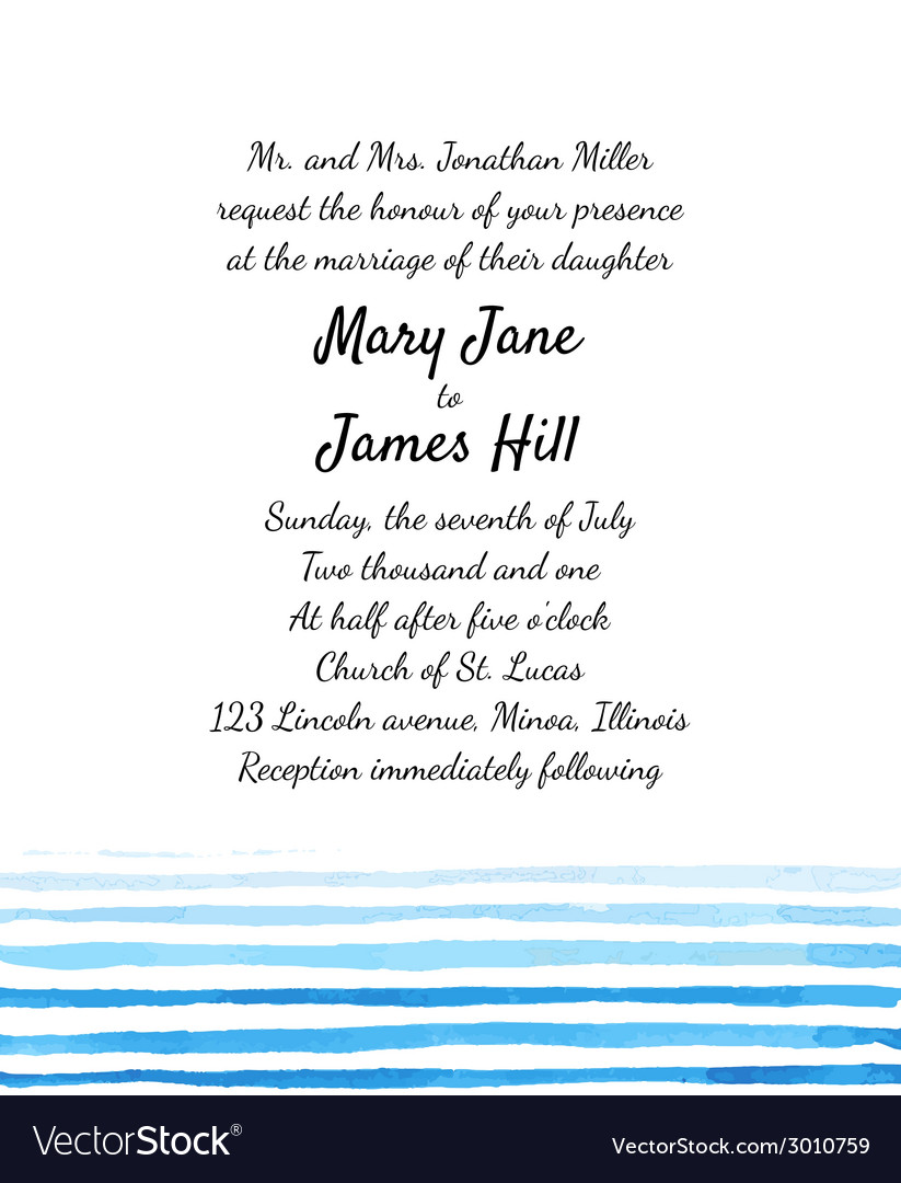 Wedding Invitation with watercolor elements vector image