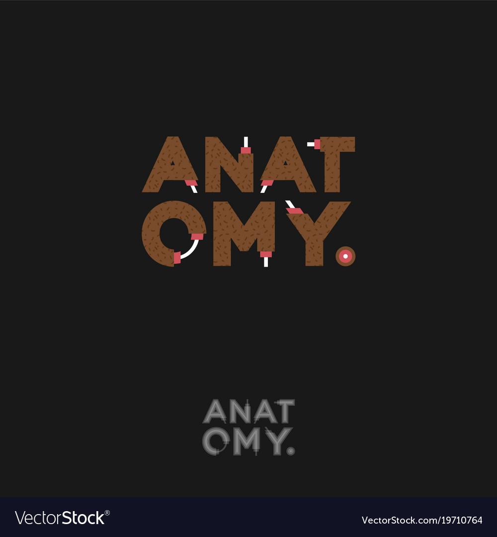 Anatomy logo funny letters cartoon typography