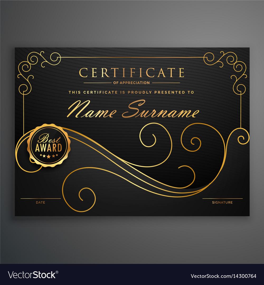 Black And Golden Premium Certificate Template Vector Image