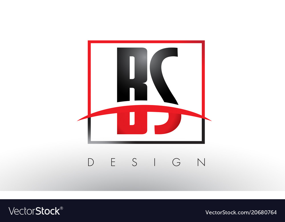 bs b s logo letters with red and black colors and vector image rh vectorstock com red and black logos for 2008 f150 xl red and black logo quiz