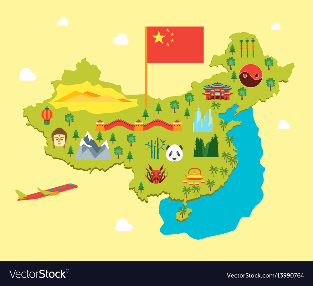 Cartoon travel china tourism concept