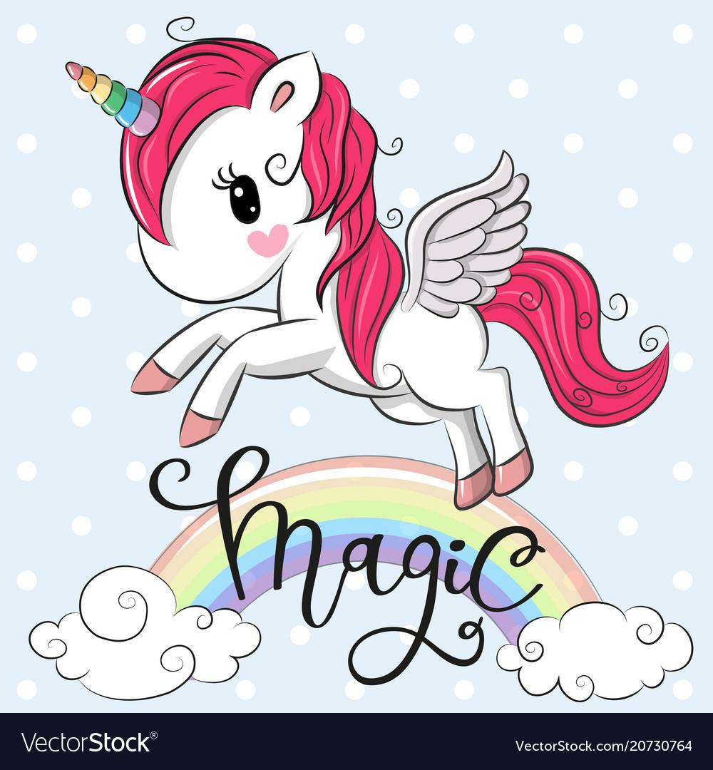 Cartoon unicorn is flying under the rainbow