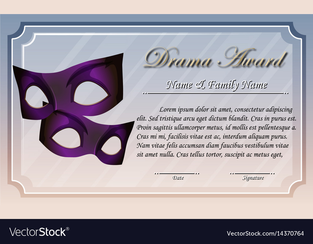 Certificate template for drama award vector image