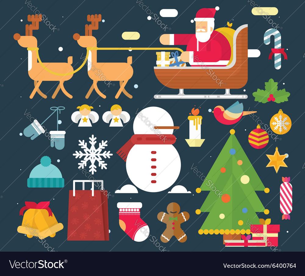 Christmas character and New Year Santa Claus flat vector image