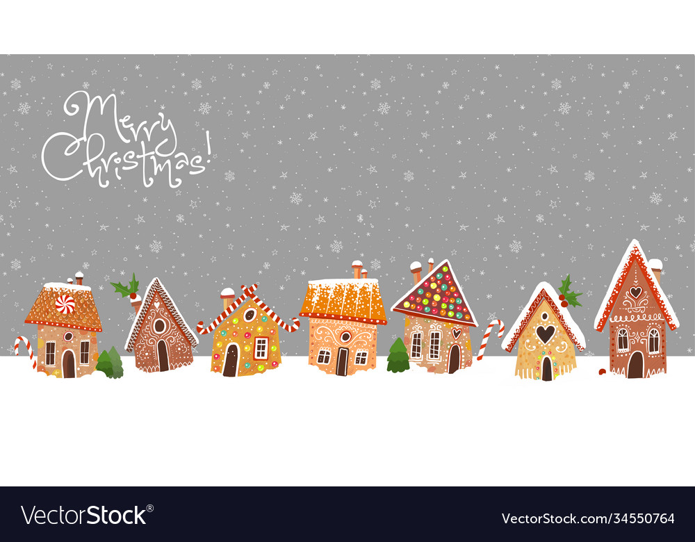 Christmas greeting card with cute gingerbread